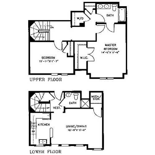 The B 5 Is A Two Bedroom, Two Bath Townhome With 1,385 Square Feet Of  Living Space. The Lower Level Contains The Great Room, A Storage Closet, ...