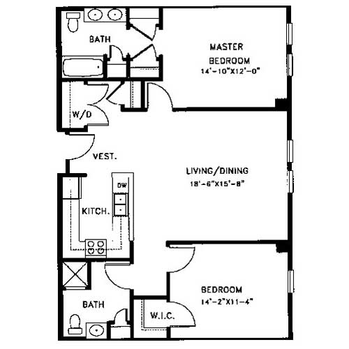 Apartment floor plans legacy at arlington center for Bedroom and ensuite plans