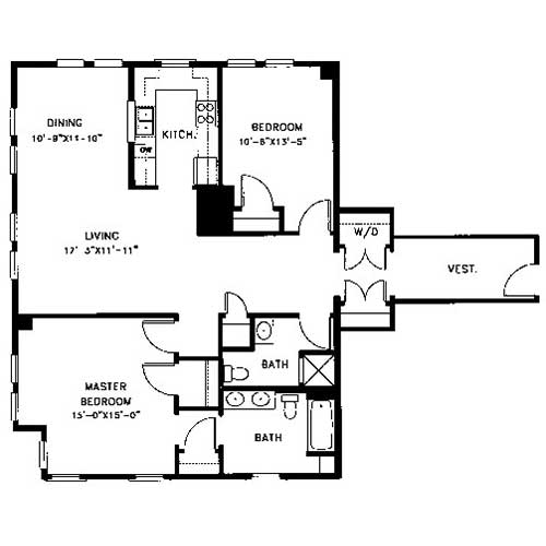 Plan D Is A Two Bedroom, Two Bath Apartment With 1,386 Square Feet Of  Living Space. This Floor Plan Features A Large, Private Vestibule With Coat  Closet And ...